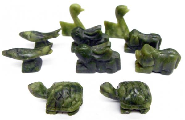 Collection of hand carved jade animals, Fish, rabbit, pig, duck, tortoise