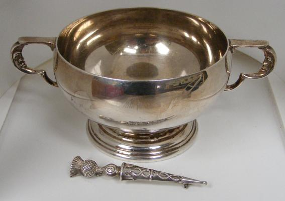 Mappin & Webb moon handle sugar bowl & sterling silver WBS thistle brooch