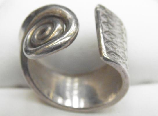 Solid silver spoon ring size Q