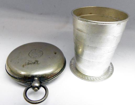 White metal cased collapsible shot/medicine cup patt EJT No 15061