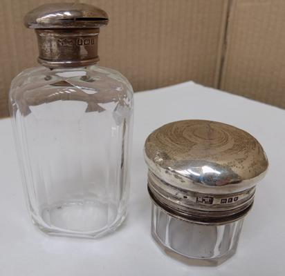 2 silver topped perfume bottles, hallmarked