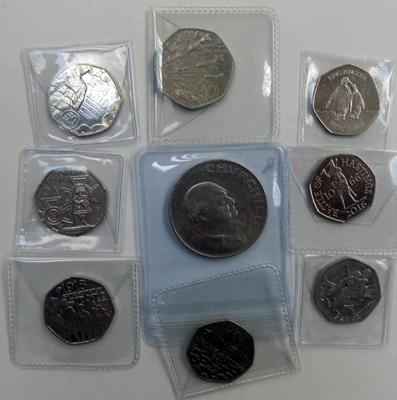 Selection of Battle coins, incl. Falklands Isles