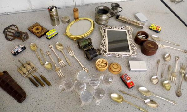 Box of vintage collectables inc lighters, photo frame, opera glasses etc