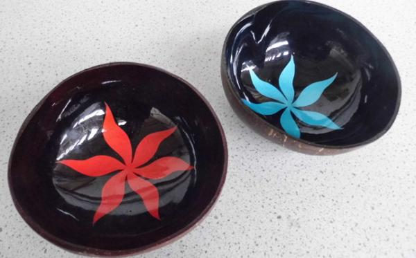 Pair of hand painted dishes