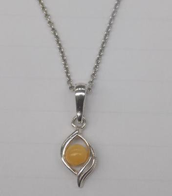 925 Silver butterscotch amber necklace