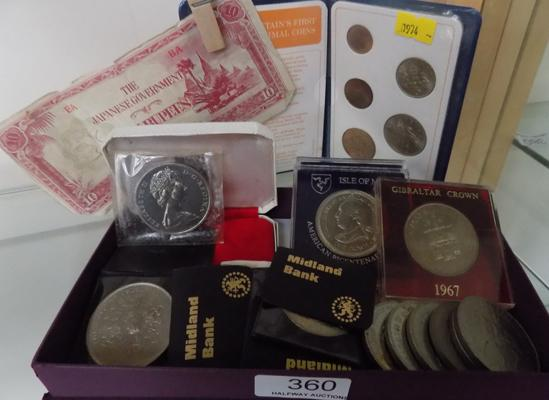 Assortment of coins, collectable Crowns etc...
