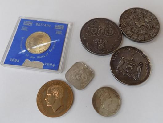 Assortment of tokens, medallions & coins