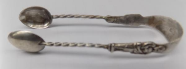 Pair of antique silver apostle sugar tongs-Chester 1907 by makers S Blanckensee & son Ltd