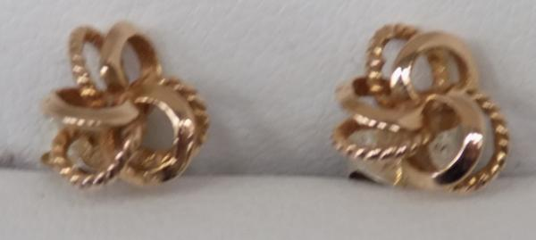 9ct Gold earrings-woven knot