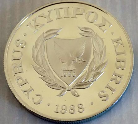 1988 Cyprus silver proof £1 Olympic 4000, minted