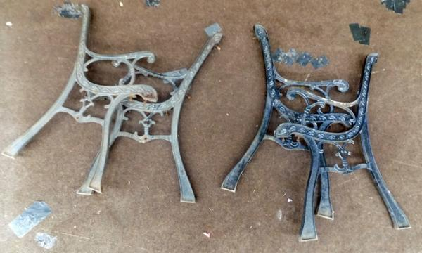 2 pairs of cast iron bench ends