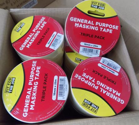 48 Rolls of masking tape-good quality (16 x 3 pack)