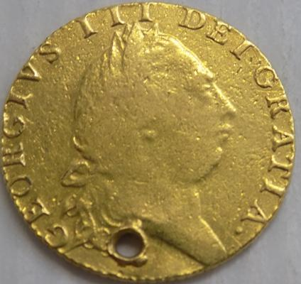 Antique Georgian George III, 22 carat gold, full Guinea (holed) - weight 8.4 grams