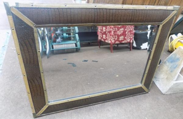 Leather & brass framed mirror - 35 x 25 inches