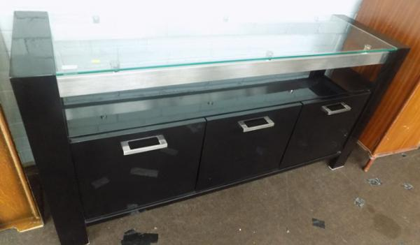Black gloss, glass top sideboard-good condition