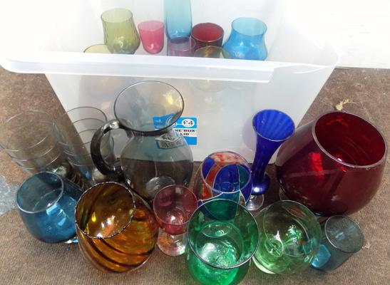 Large selection of coloured glass items