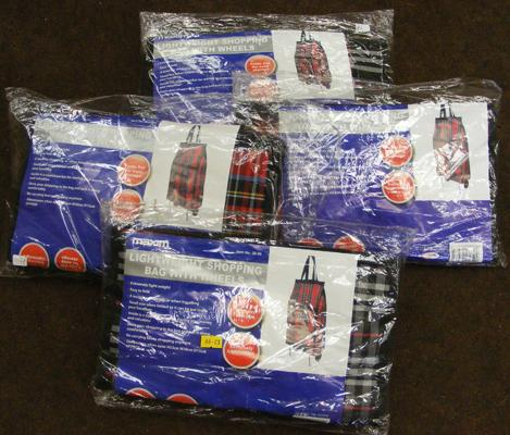 Four new & sealed folding shopping bags on wheels