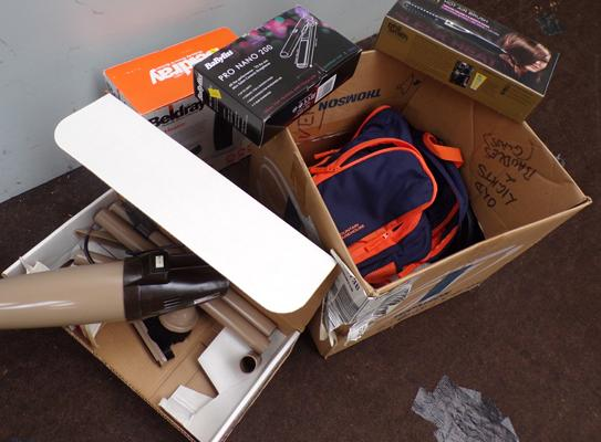 Box of electrical items, incl. fan heater, Baby BaByliss & Moulinex hand vac