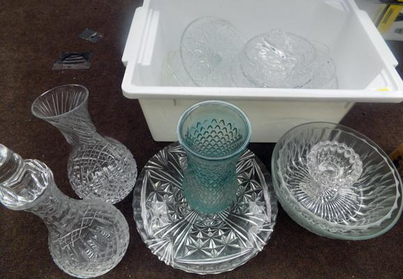 Box of crystal and vintage cut glass