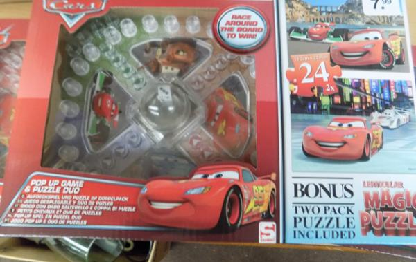 3x New Disney cars frustration pop up games with jigsaws