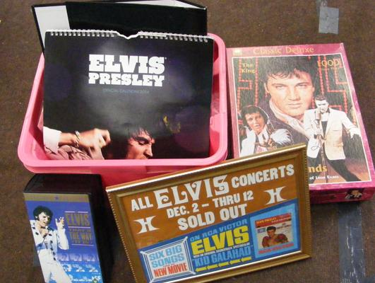 Box of Elvis collectables
