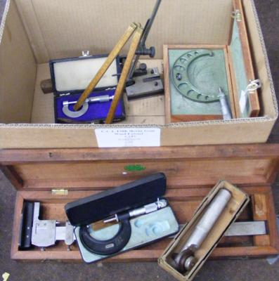 Collection of vintage engineering tools in wooden cases etc...