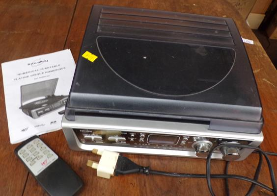 Inovalley radio & record player with instructions & universal plug - W/O