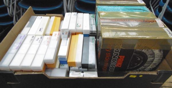 Large collection (over 100) of mixed scenic photo slides + 5 rotary magazine racks