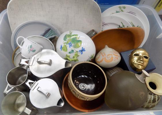 Box of mixed ceramics + household incl. Pottery Studio Pottery + Susie Cooper