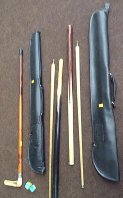 Two snooker cues, cases, chalk & walking stick