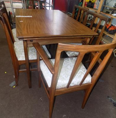 Teak table & 6 chairs