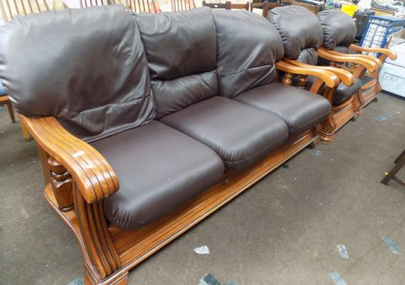 3 Seater & 2 chairs with wooden frame