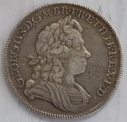 Antique Georgian, George I, silver half Crown coin, dated 1720