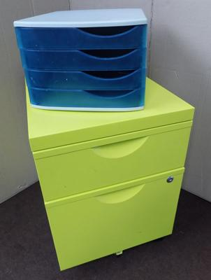 Lime green filing cabinet + plastic A4 paper files
