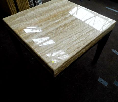 1970's Solid marble coffee table-25 inches square
