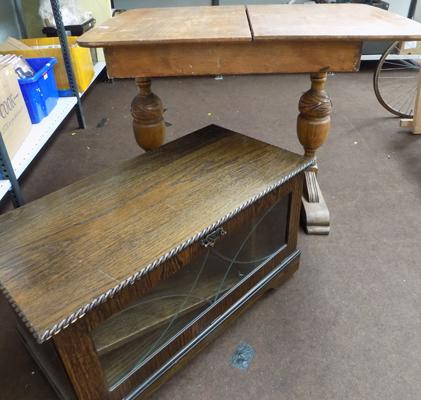 Leaded front TV cabinet & carved leg table (for restoration)