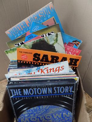 Box of mixed LPs,  Motown, Three Degrees + many more, totaling 98+