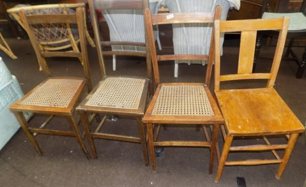 Three rattan based chairs + one other
