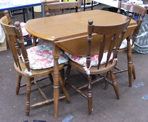 Circular drop leaf table & four chairs