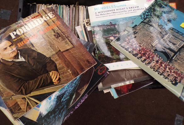 Large box of assorted albums, classical, comedy etc...