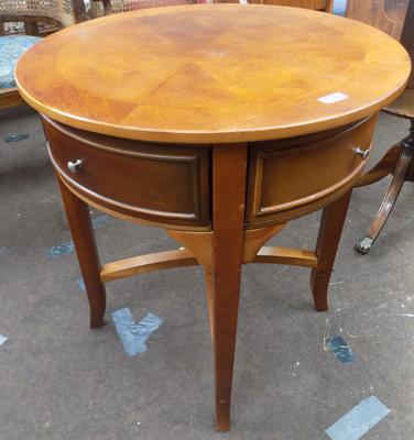Round inlaid table with drawer