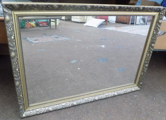 Ornate framed rectangular mirror approx 34x24 inches