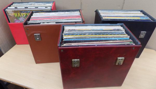 4 x LP cases with mix of records