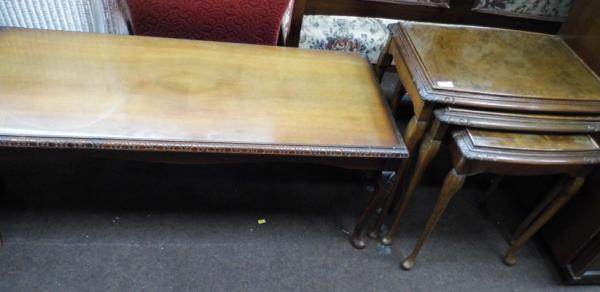 Nest of 3 tables & matching coffee table