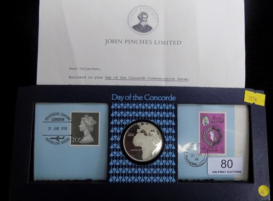 Day of the Concorde, limited edition commemorative coin & stamp set with paperwork