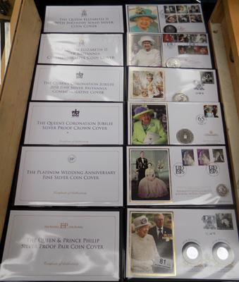 6x Jubilee Mint Royal first day covers & silver coins