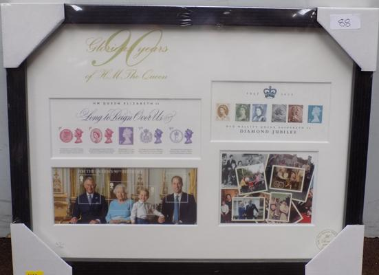 Royal Commemorative stamps in display frame Ltd Edition 47/90