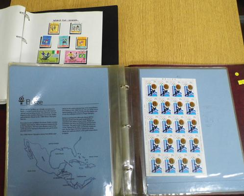1980 Olympics mint sheet stamp collection & Olympic Games World Cup stamp folder