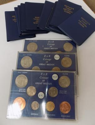 3 x Elizabeth II coinage of Great Britain & 9 first decimal coin sets