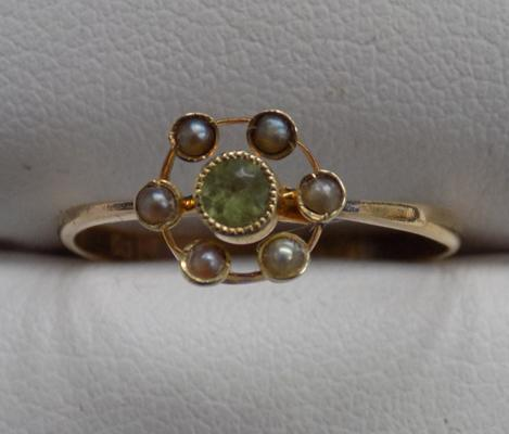 18ct Gold antique citrine & seed pearl ring size N